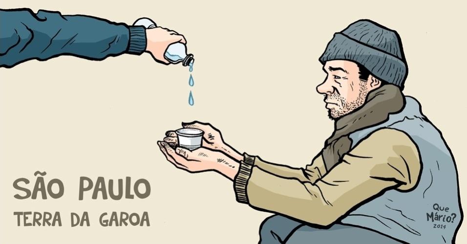 3.out.2014 - O chargista Que Mário? ironiza a crise de água que atinge o Estado de São Paulo