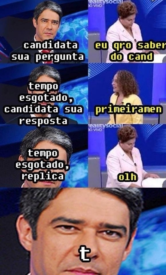 """3.out.2014 - O rigor com o tempo de resposta para cada candidato no debate desta quinta (2), na """"Rede Globo"""", virou meme"""