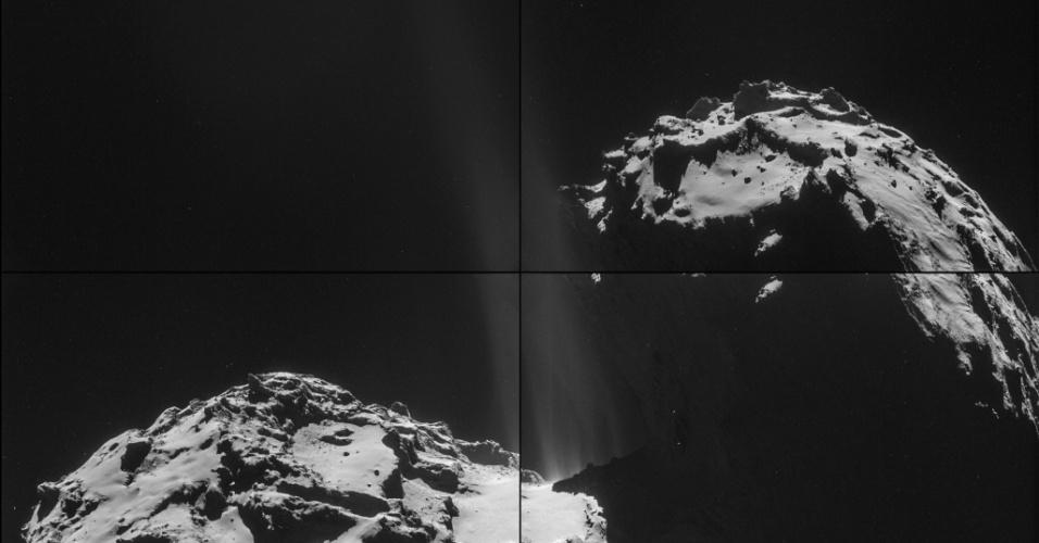 3.out.2014 - ROSETTA E O COMETA - As quatro imagens que compõem esta montagem de cometa 67P/Churyumov-Gerasimenko foram tiradas em 26 de setembro de 2014 pela sonda Rosetta, da ESA (Agência Espacial Europeia, sigla em inglês).  A Rosetta estava a cerca de 26 km do comenta, a contar do seu centro. Na montagem, a região de jato de atividade pode ser vista no pescoço do cometa. Estes jatos, provenientes de vários locais escondidos, são resultado de gelo em sublimação e de gases que escapam de dentro do núcleo