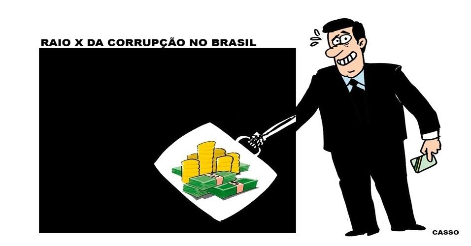 4.out.2014 - O chargista Casso ironiza os esquema de corrupção no Brasil