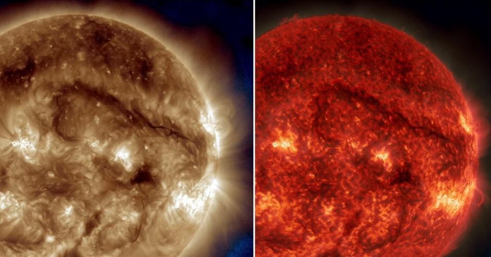 FILAMENTO DE MATERIAL SOLAR - Um filamento sinuoso prolongado de material solar está em frente ao sol, cerca de 1 milhão quilômetros de diâmetro, de ponta a ponta. Filamentos são nuvens de material solar suspenso por forças magnéticas. Embora notoriamente instáveis, eles podem durar dias ou mesmo semanas. As imagens foram feitas no dia 30 de setembro e divulgadas nesta sexta-feira (3), pela Nasa