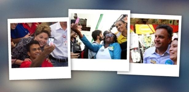 3.out.2014 - Popular nas redes sociais, os 'selfies' (termo em inglês para autorretrato) fizeram sucesso na campanha dos candidatos à Presidência da República, governos estaduais e Senado