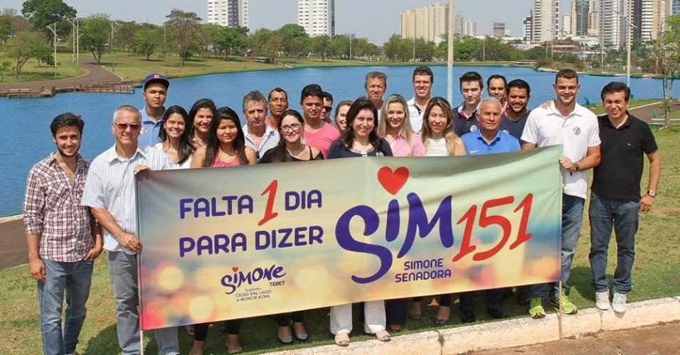 4.out.2014 - Candidata ao Senado de Mato Grosso do Sul, Simone Tebet (PMDB) encerra campanha neste sábado (4), véspera das eleições
