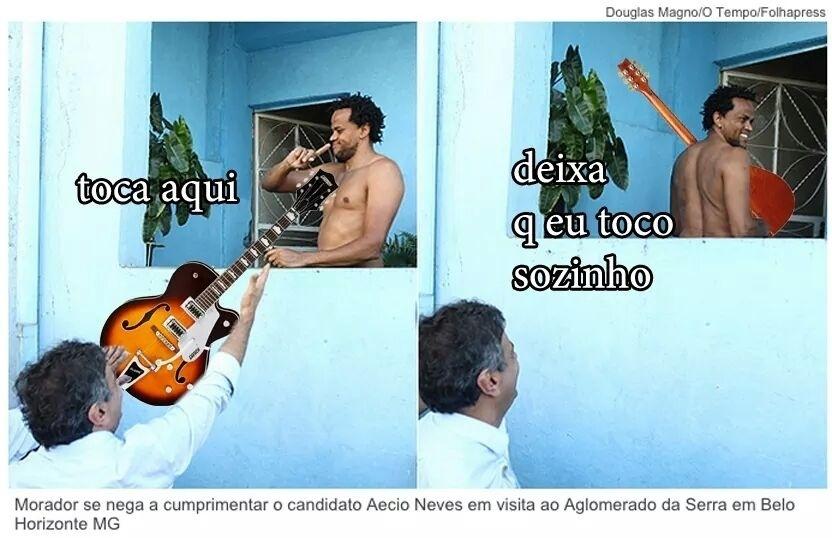 4.out.2014 - A recusa do músico Fábio Martins, morador de um conjunto de favelas da zona sul de Belo Horizonte, a cumprimentar o candidato à Presidência da República Aécio Neves (PSDB) virou motivo de piada