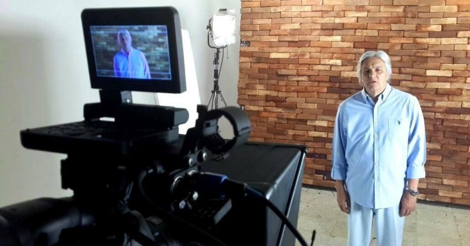 4.out.2014 - O candidato ao governo do Mato Grosso do Sul Delcídio Amaral (PT) grava direito de resposta nesse sábado (4), na véspera das eleições desse domingo