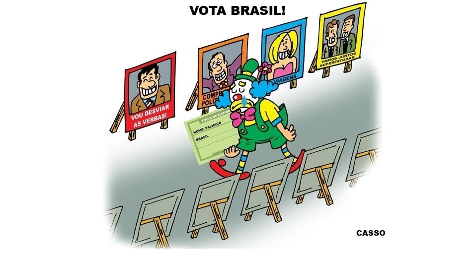 5.out.2014 - O chargista Casso brinca com as propostas de candidatos e a difícil tarefa dos eleitores brasileiros
