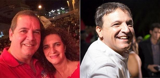 Os candidatos a governador do Acre, Tião Viana (PT), ao lado da mulher, Marlúcia Cândida; e Márcio Bittar (PSDB)