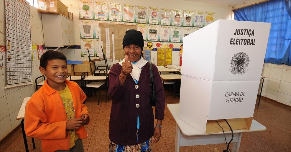 5.out.2014 - Votação em comunidade indígena em Dourados, no Mato Grosso do Sul