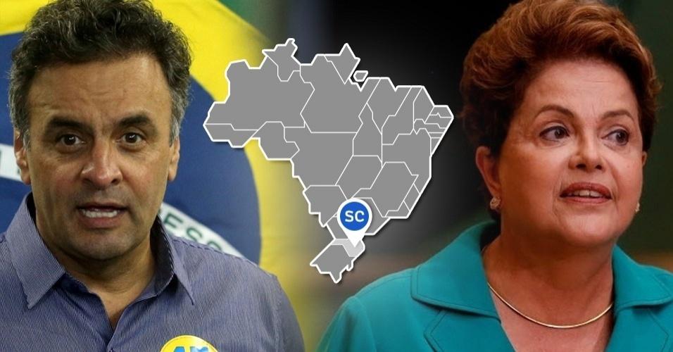 Dilma Aécio votação SC