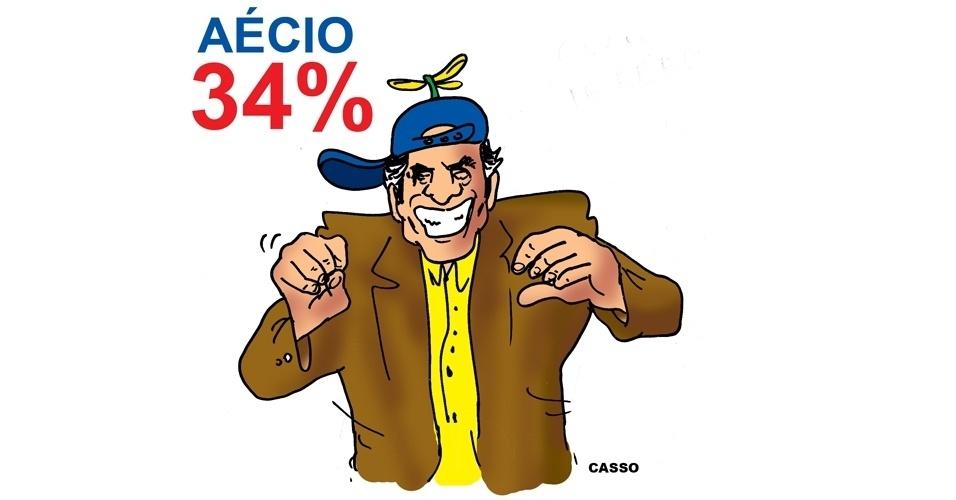 6.out.2014 - O chargista Casso brinca com a chegada do candidato do PSDB à Presidência da República, Aécio Neves, no 2º turno das eleições