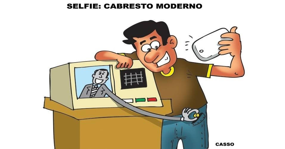7.out.2014 - O chargista Casso critica eleitores que fizeram selfie no momento do voto