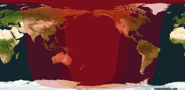 """Área em vermelho intenso é onde a """"lua de sangue"""" poderá ser vista completamente durante o eclipse - Reprodução/Time and Date"""