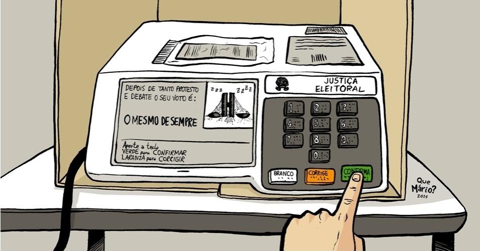 8.out.2014 - O chargista Que Mário? critica os resultados do 1º turno das eleições de 2014