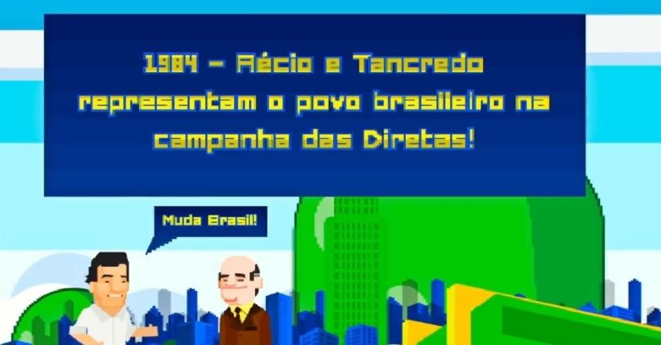"""Já naquela época, Aécio aparece repetindo seu slogan da atual campanha (""""Muda, Brasil!"""") e se coloca, novamente ao lado do avô, como defensor das eleições diretas"""
