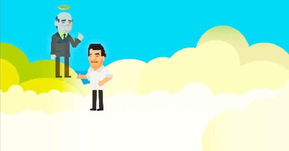 Já no céu, no caso a presidência, o joguinho mostra a morte de Tancredo Neves e sua conversão em santo; Aécio chora