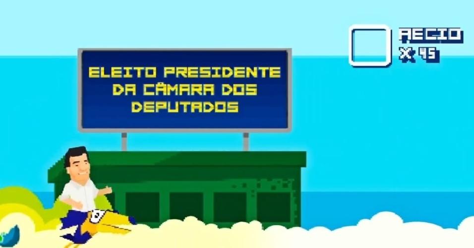 Montado em um tucano, óbvia alusão a sua filiação ao PSDB, Aécio mostra que foi presidente da Câmara dos Deputados