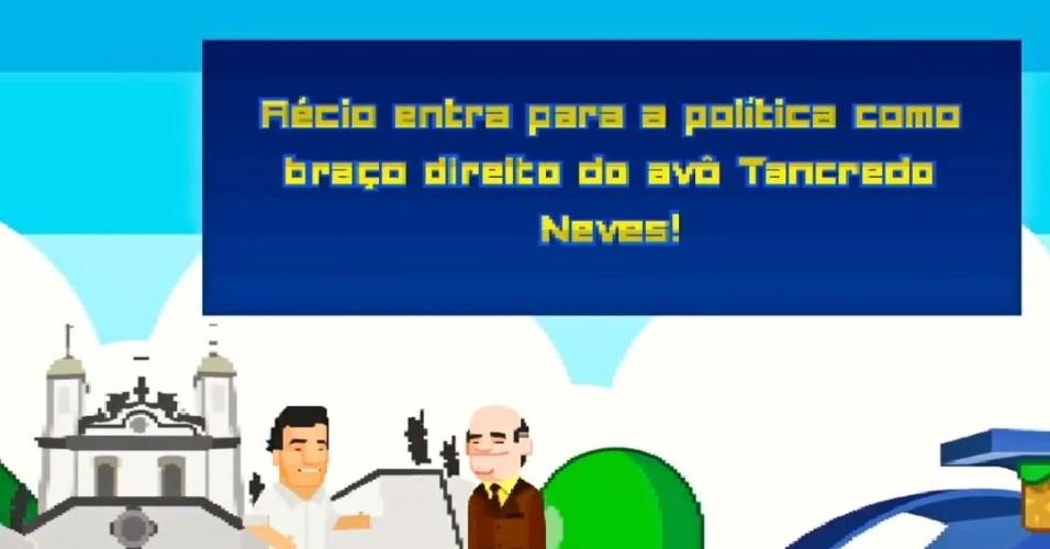 Na primeira fase do vídeo, Aécio cola sua imagem à do avô, o presidente Tancredo Neves