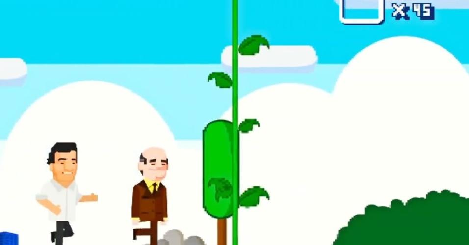 """Para representar a ascensão de Tancredo Neves à presidência da República, o """"jogo"""" mostra neto e avô escalando uma árvore que leva até o céu"""