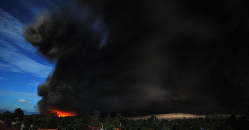 9.out.2014 - Nuvens cinzas sobem da cratera do vulcão no Monte Sinabung, neste domingo (5), na ilha de Sumatra, na Indonésia. A imagem foi divulgada nesta quinta-feira (9). De acordo com autoridades locais, centenas de moradores ainda estão alojados em centros de evacuação, para ficarem fora do limite da zona de perigo ao redor do vulcão. O vulcão entrou em erupção em agosto de 2010 pela primeira vez em 400 anos, e está ativo desde setembro. Ao menos 16 pessoas morreram em decorrência das erupções neste ano e mais de 25 mil foram evacuadas