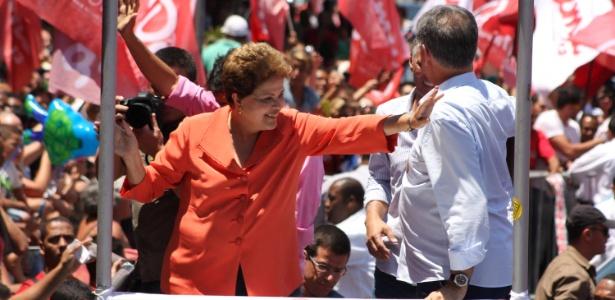 Dilma Rousseff (PT), candidata à reeleição, participa de caminhada com lideranças políticas em Contagem (MG)