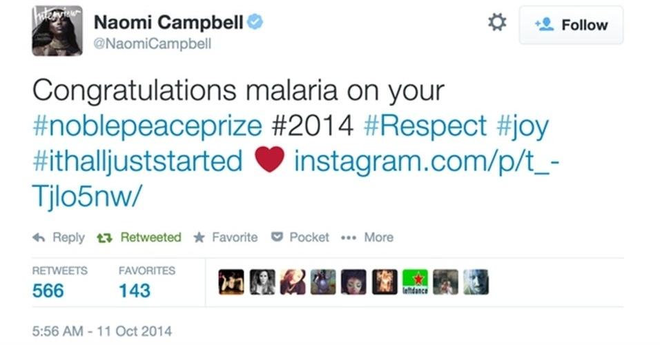 """13.out.2014 - A modelo norte-americana Naomi Campbell se atrapalhou ao tuitar sobre a paquistanesa Malala Yousakzai, 16, que foi uma das ganhadoras do prêmio Nobel da Paz de 2014. Ela confundiu o nome da adolescente com """"malaria"""". """"Parabéns Malaria pelo Nobel da Paz"""", postou Naomi. Após a repercussão, a modelo publicou um tuíte dizendo que o corretor ortográfico de seu smartphone corrigiu erroneamente o nome da garota"""