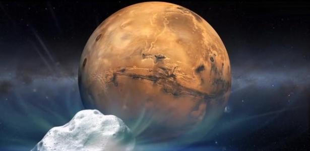 Concepção artística do cometa Siding Spring (C/2013 A1) seguindo em direção a Marte - NASA