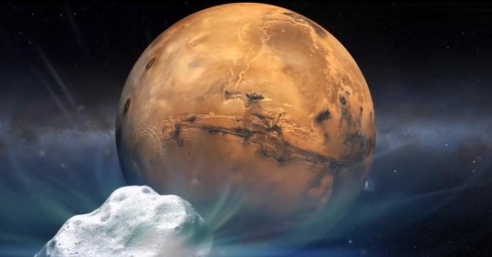 Concepção artística do cometa Siding Spring (C/2013 A1) seguindo em direção a Marte