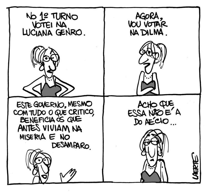O cartunista Laerte Coutinho manifestou apoio à presidente e candidata a reeleição Dilma Roussef (PT) da forma mais original possível: criou uma charge que revela seu voto no primeiro turno, Luciana Genro (PSOL),  e sua intenção de voto no segundo turno das eleições