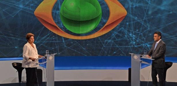 Dilma Rousseff e Aécio Neves durante debate Band, nesta terça-feira (14)