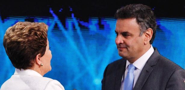 Dilma Rousseff e Aécio Neves em debate na Band, nesta terça-feira (14)