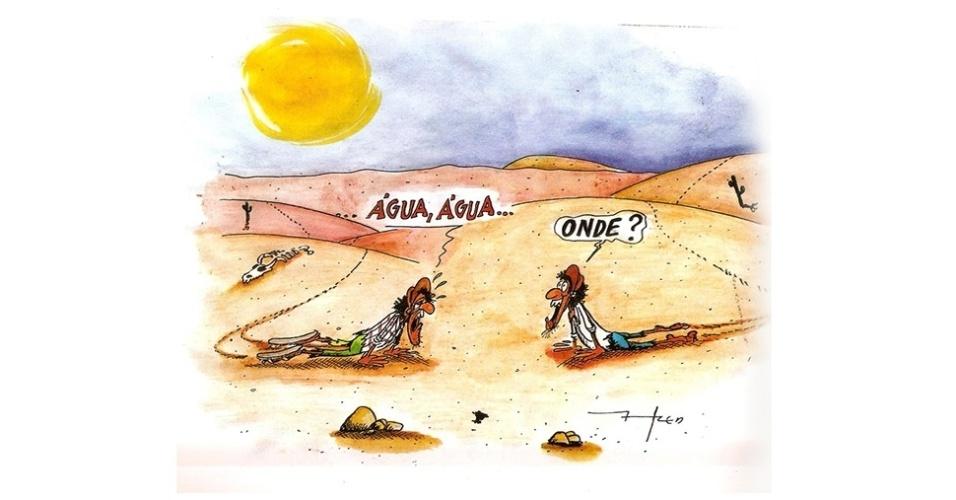 15.out.2014 - O chargista Fred ironiza a falta de água que atinge o Estado de São Paulo