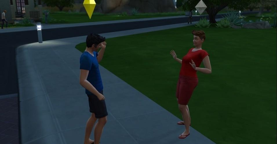 """14.out.2014 - Internautas brincam e simulam no jogo """"The Sims"""" o debate entre os candidatos Aécio Neves (PSDB, de azul) e Dilma Rousseff (PT, de vermelho)"""