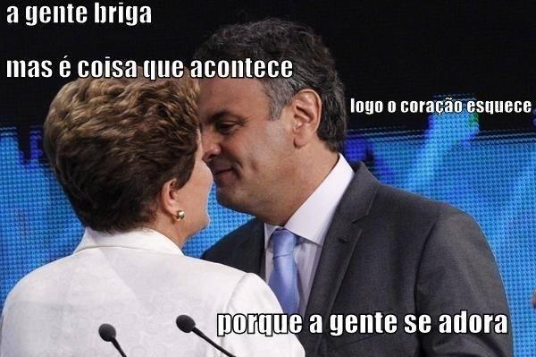 14.out.2014 - Internautas fazem montagem fazendo graça com foto de Dilma Rousseff (PT) e Aécio Neves (PSDB) se cumprimento antes do início de debate