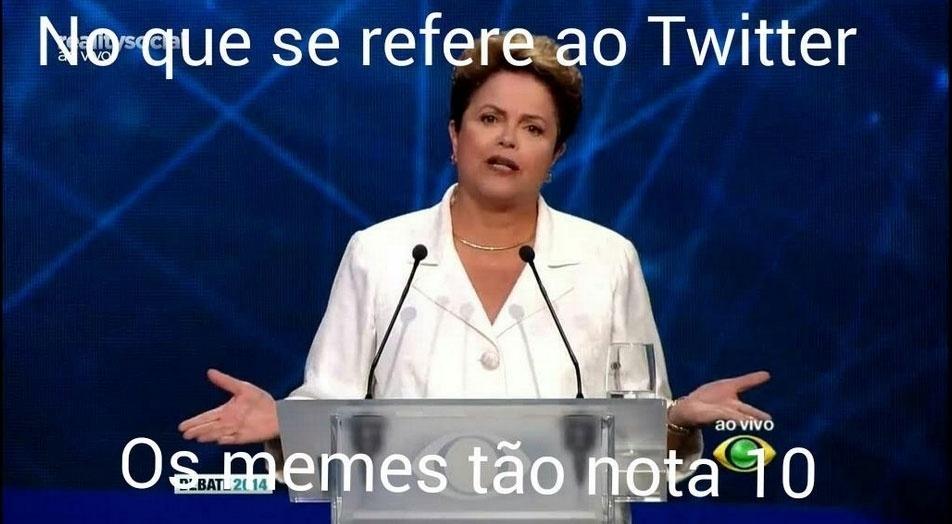 14.out.2014 - Internautas fazem montagem fazendo graça com o desempenho da candidata à reeleição, presidente Dilma Rousseff (PT), na noite desta terça-feira