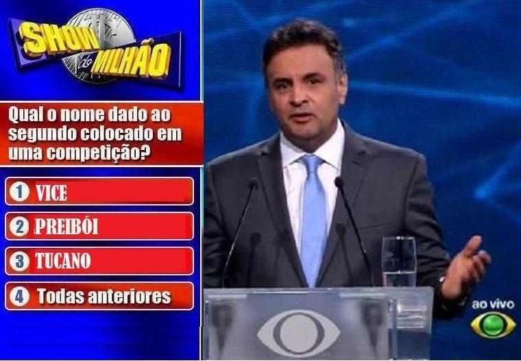 14.out.2014 - Internautas fazem montagem fazendo graça com o desempenho do candidato à Presidência Aécio Neves (PSDB), na noite desta terça-feira