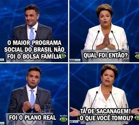 14.out.2014 - Internautas fazem montagem fazendo graça com perguntas e respostas de Dilma Rousseff (PT) e Aécio Neves (PSDB) durante debate