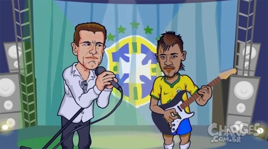 14.out.2014 - O chargista Maurício Ricardo brinca com os horários dos jogos da seleção brasileira nos amistosos contra a Argentina e o Japão