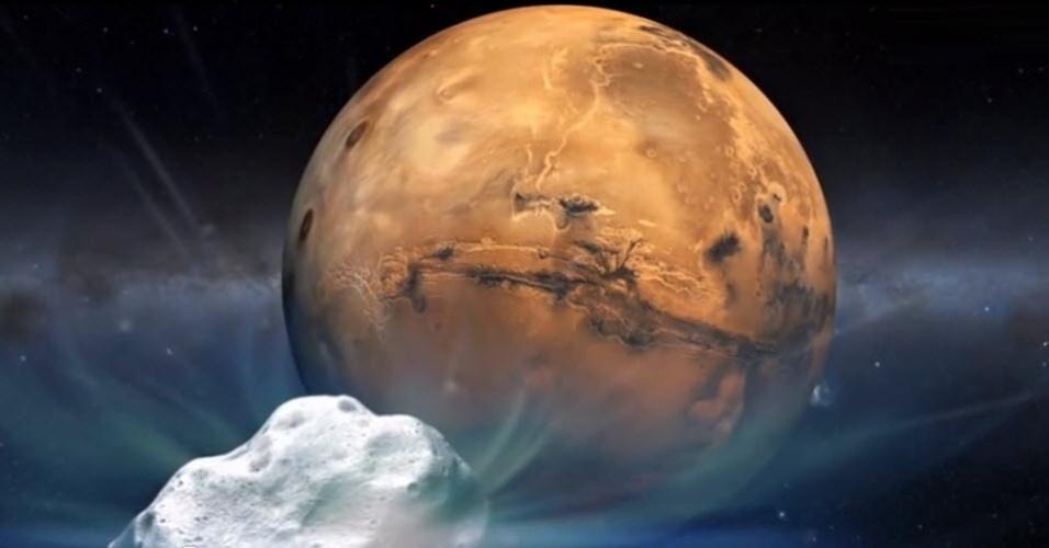 15.out.2014 - COMETA QUE VAI PASSAR DE RASPÃO POR MARTE - Concepção artística mostra cometa que vai passar de raspão por Marte no próximo domingo (19). Batizado de