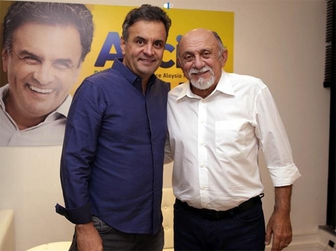 15.out.2014 - O governador e candidato à reeleição pelo PSDB, Simão Jatene, se reuniu com o candidato presidenciável Aécio Neves, também pelo PSDB, em São Paulo