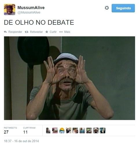 16.out.2014 - Enquanto é realizado o debate entre presidenciáveis, as redes sociais exploram o bom humor para criar memes e piadas