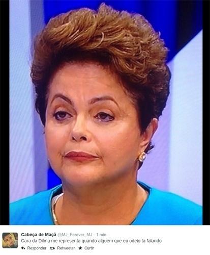 16.out.2014 - Expressão de desdém da candidata à reeleição Dilma Rousseff (PT) virou tema de piadas e também um dos assuntos mais comentados no Twitter com a hashtag ''Cara da Dilma''