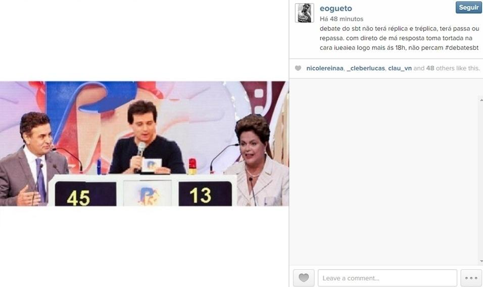 16.out.2014 - No Instagram, usuário sugere novo formato para o debate entre Dilma Rousseff (PT) e Aécio Neves (PSDB): Passa ou Repassa