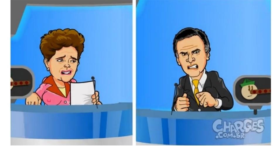 16.out.2014 - O chargista Maurício Ricardo brinca com as acusações sobre falar mentira entre os candidatos presidenciáveis Dilma Rousseff (PT) e Aécio Neves (PSDB)