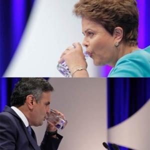Candidatos aproveitam para se hidratar durante o debate - Reinaldo Canato/UOL