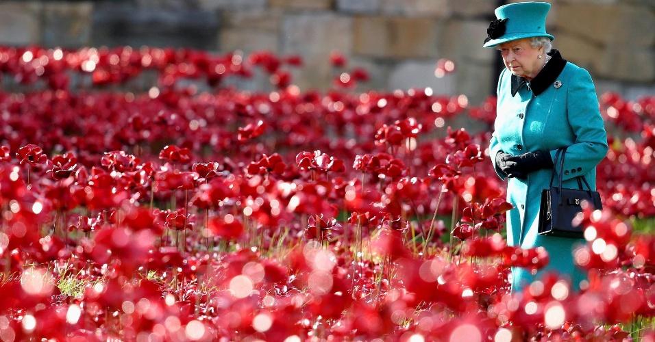 16.out.2014 - A rainha Elizabeth 2ª caminha por um campo de papoulas de cerâmica, que fazem parte da instalação de arte