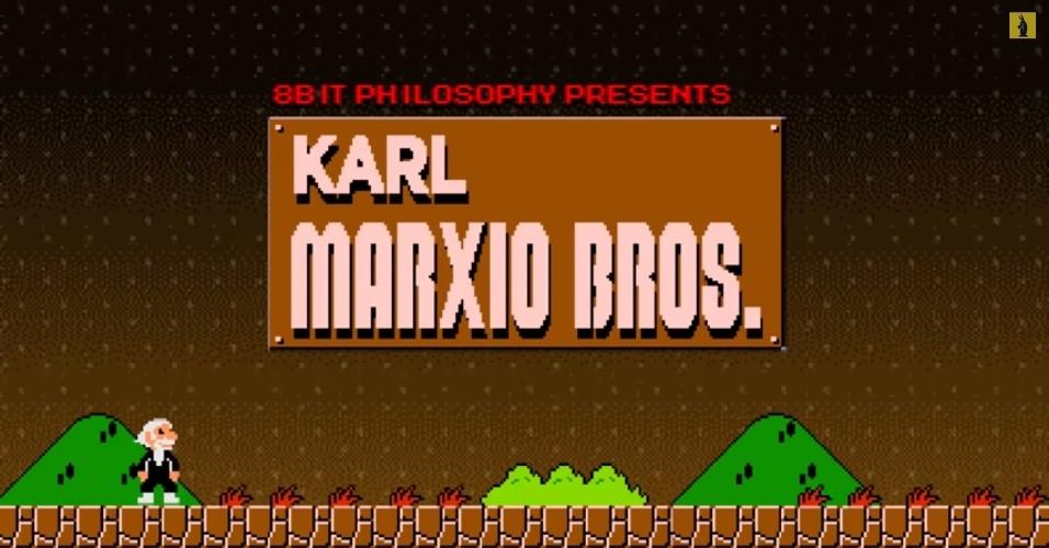 """As animações da série 8-Bit Philosophy, disponíveis no YouTube, usam games clássicos para ensinar filosofia. No episódio """"O que é Marxismo"""", o bigodudo Mario incorpora Karl Marx. A luta de classes, a exploração e alienação do trabalhador, a concentração de renda, entre outros fatores, levariam à revolução do proletariado e à utopia da sociedade comunista"""