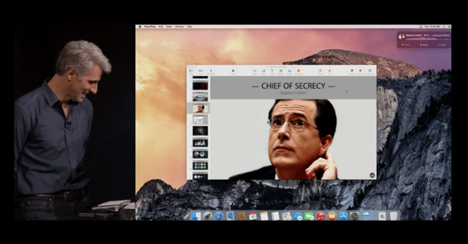 Craig Federighi, VP de software da Apple, apresenta recursos do Yosemite, novo sistema operacional para Macintosh