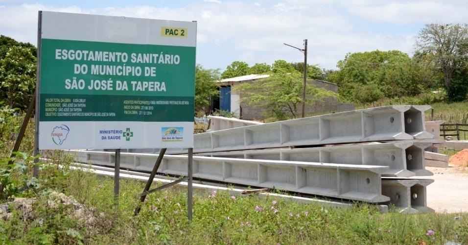 São José da Tapera, em Alagoas, passa por obras de saneamento básico, hoje inexistente na cidade; prefeitura prevê área urbana 100% saneada até o fim de 2015