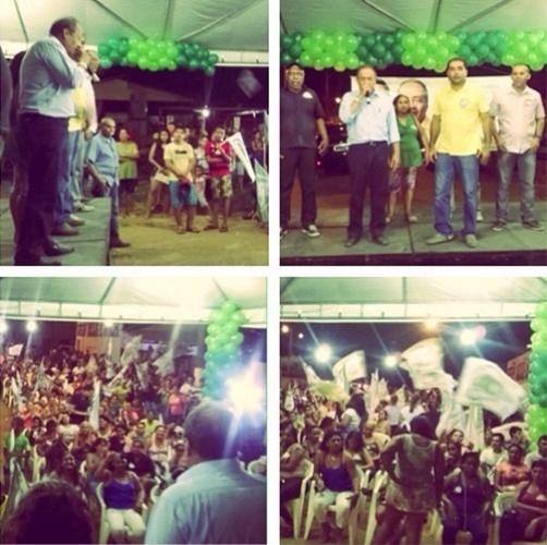 16.out.2014 - Chico Rodrigues, candidato pelo PSB ao governo estadual, participa de ato político no bairro Silvio Leite, em Boa Vista