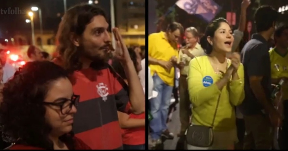 17.out.2014 - Petistas e tucanos levam agressividade do debate entre Dilma Rousseff e Aécio Neves às ruas de São Paulo